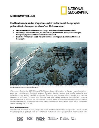 """Ein Kontinent aus der Vogelperspektive: National Geographic präsentiert """"Europa von oben"""" ab 23. November (FOTO)"""