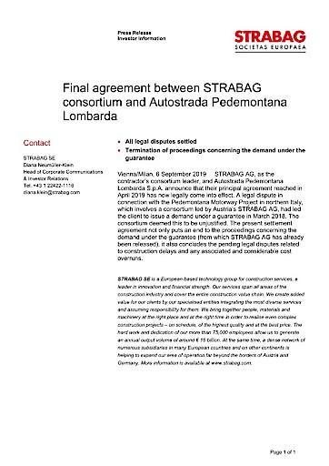 EANS-News: Final agreement between Strabag consortium and Autostrada Pedemontana Lombarda