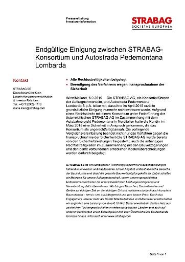 EANS-News: Endgültige Einigung zwischen Strabag-Konsortium und Autostrada Pedemontana Lombarda