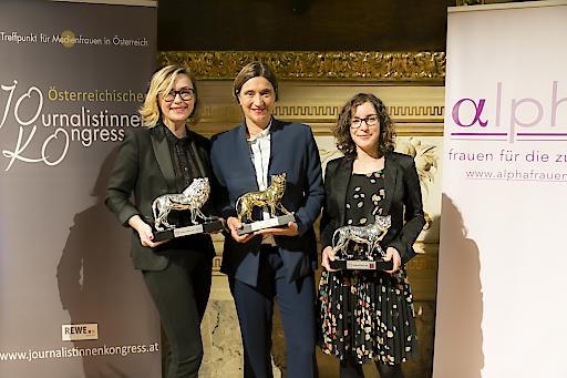 Vl: Die MedienLÖWINNEN 2018: Barbara Haas, MedienLÖWE (WIENERIN), Lisa Totzauer Goldene LÖWIN (ORF), Ruth Eisenreich Silberne LÖWIN (Süddeutsche Zeitung).