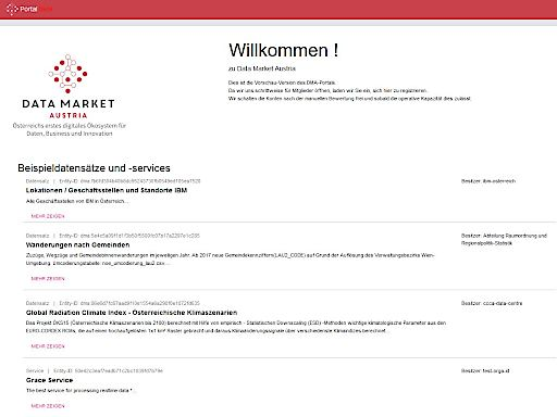 Screenshot Data Market Austria-Portal