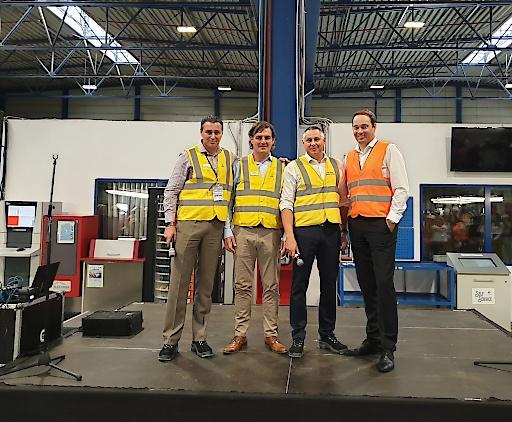 v.l.n.r.: Mauro Spizzo / Vice President East Europe (Hydro), Bruno D'hondt / Head of Extrusion Europe (Hydro), Cornel Lina / Managing Director România (Hydro), Rob van Gils / CEO HAI Group
