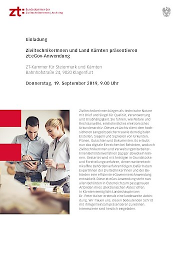 Aviso: ZiviltechnikerInnen und Land Kärnten präsentieren eGovernment-Neuerung