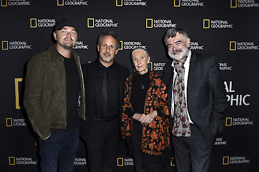 HOLLYWOOD, CA - JULY 10: (L to R) Leonardo DiCaprio, Richard Ladkani, Jane Goodall and Walter Köhler attend National Geographic Documentary Films' SEA OF SHADOWS Los Angeles Premiere at NeueHouse on July 10, 2019 in Hollywood, California. (Photo by Vivien Killilea/Getty Images for National Geographic)