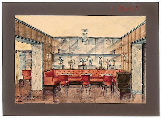 Otto Prutscher, Innenansicht für das Café-Restaurant Hotel Imperial, Wien I. (gemeinsam mit Anton Schuwerk und August Röben), 1937 Karton, Transparentpapier, Aquarellfarbe, Tusche, Buntstift, Bleistift