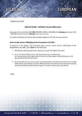 EANS-Adhoc: European Lithium Limited / ISSUE OF SHARES – APPENDIX 3B and S708A Notice