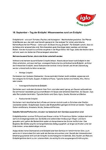 18.9. ist Tag der Erdäpfel: Österreicher greifen vermehrt zu heimischen Erdäpfelprodukten aus dem Tiefkühlregal