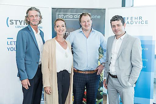 Styria Digital One Breakfast Sessions: Klement Cabana und Xenia Daum (styria digital one) mit Gerhard Fehr und Alexis Johann (Fehr Advice)