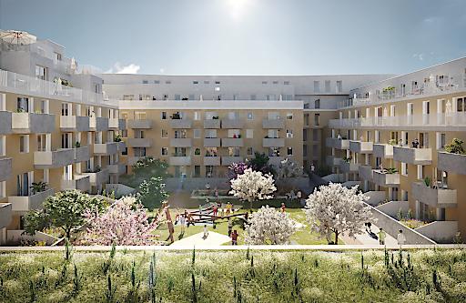 """Wohnbauprojekt """"Lavater 2"""" von INVESTER in Wien Donaustadt - Innenhof"""
