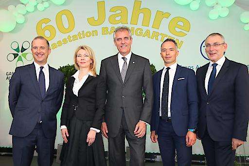 Marco Alverà CEO der SNAM, Elena Burmistrova, stellvertretende Vorstandsvorsitzende von Gazprom, Rainer Seele, Vorstandsvorsitzender der OMV, Christoph Holzer, Allianz Capital Partners sowie Andris Piebalgs, Energieexperte und ehemaliger EU-Kommissar.