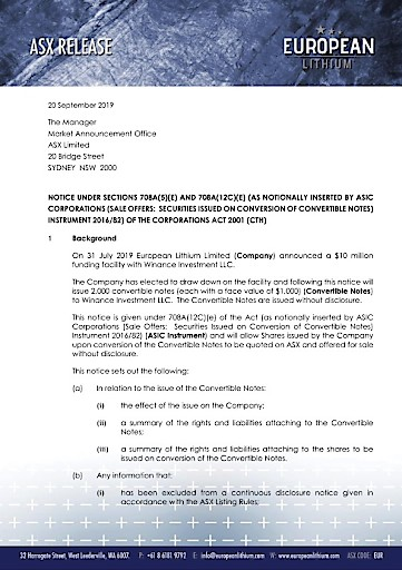 EANS-News: European Lithium Limited / NOTICE UNDER SECTIONS 708A(5)(E) AND 708A(12C)(E) (AS NOTIONALLY INSERTED BY ASIC CORPORATIONS (SALE OFFERS: SECURITIES ISSUED ON CONVERSION OF CONVERTIBLE NOTES)