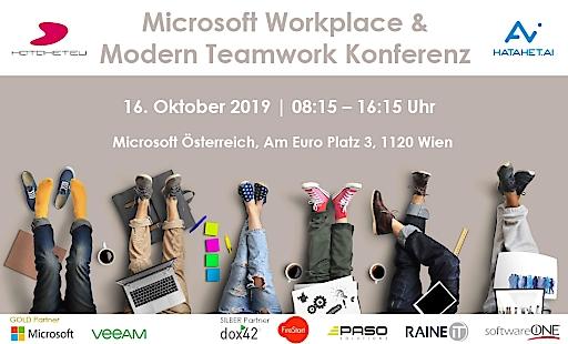 """Am 16. Oktober 2019 veranstaltet HATAHET productivity solutions in Kooperation mit Microsoft und Veeam die erste Ausgabe der """"Microsoft Workplace & Modern Teamwork Konferenz"""". Hier können die TeilnehmerInnen den Arbeitsplatz der Zukunft mit Office 365, Azure, Künstlicher Intelligenz und Bots live erleben."""