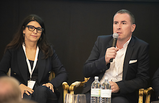 Industry panelists Martina Flitsch, Partner Weisenheimer Legal and Bernhard Fragner, CEO GlobeAir