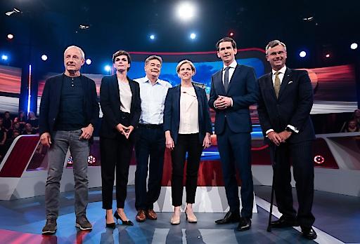 Die Spitzenkandidatinnen und -kandidaten der Nationalratswahl 2019, v.l.n.r. Peter Pilz (Liste Jetzt), Pamela Rendi-Wagner (SPÖ), Werner Kogler (Die Grünen), Beate Meinl-Reisinger (NEOS), Sebastian Kurz (ÖVP) und Norbert Hofer (FPÖ)