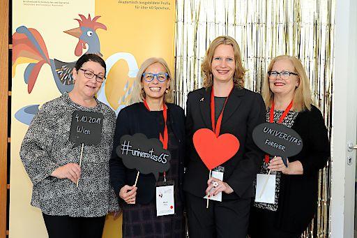 Von links: Annette Schiller, Präsidentin des Dachverbandes FIT Europe, María Palma und Dagmar Jenner von UNIVERSITAS Austria und Keynote-Speakerin Maya Hess von Red T