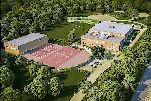 Vogelperspektive (Rendering): Der neue International Campus Vienna startet sein erstes Jahr am neuen Standort.
