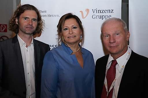 Kongresspräsident Professor Gerhard Redl (rechts) mit Gastgebern Ärztliche Direktorin Dr. Katharina Wolman und GF Mag. David Pötz (aus dem Orthopädischen Spital Speising