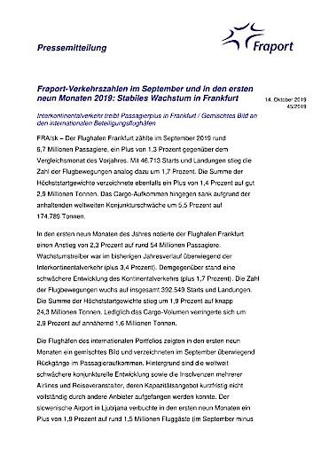 Fraport-Verkehrszahlen im September und in den ersten neun Monaten 2019: Stabiles Wachstum in Frankfurt