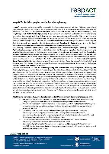 Regierungswechsel: respACT fordert Anerkennung nachhaltiger Unternehmen