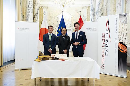 Marc Fähndrich, Leiter Wirtschaftspolitik der Vertretung der EU-Kommission in Wien, S.E. Botschafter Kiyoshi Koinuma, Sektionschef Florian Frauscher