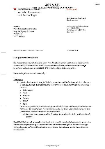 VSV/Kolba: Verkehrsministerium im Diesel-Skandal völlig untätig