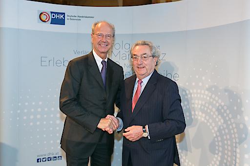 Der alte und der neue Präsident der Deutschen Handelskammer in Österreich (DHK): Hans Dieter Pötsch und Prof. Dieter Hundt.