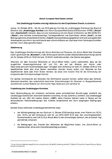EANS-News: Atrium European Real Estate Limited / Das Unabhängige Komitee ermutigt Aktionäre für den Empfohlenen Erwerb zu stimmen