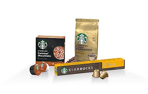 Das neue Starbucks-Sortiment für den Handel besteht aus kompatiblen Kapseln für Nespresso, für Nescafé Dolce Gusto sowie Ganzen Bohnen.