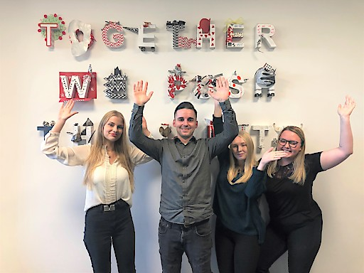 E-Commerce-Lehrling UNITO-Gruppe von links nach rechts: Ida Lindner, Simon Mundt, Elena Seidl, Michaela Huber