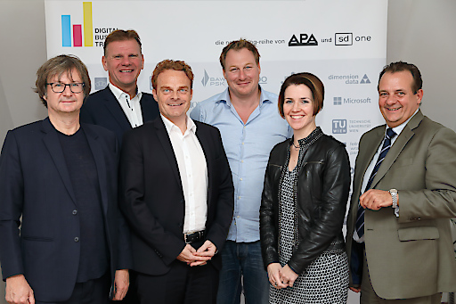 https://www.apa-fotoservice.at/galerie/16185 Im Bild v.l.n.r.: Christian Huemer (TU Wien), Michael Strebl (Wien Energie), Mario Koplmüller (epunkt), Gerhard Fehr (FehrAdvice & Partners), Eva Zehetner (A1 Telekom Austria Group), Thomas Stern (Braintrust)