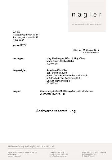 Strafanzeige gegen ehemalige Dritte Nationalratspräsidentin Anneliese Kitzmüller wegen Missbrauch der Amtsgewalt