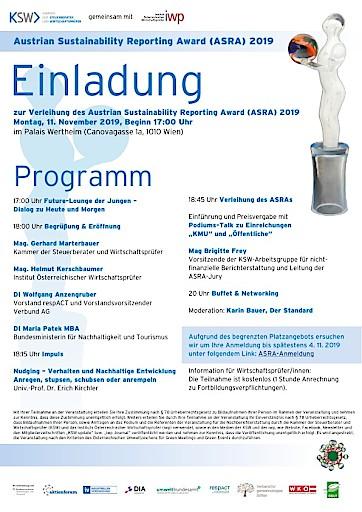 Einladung zur Verleihung der Austrian Sustainability Reporting Awards