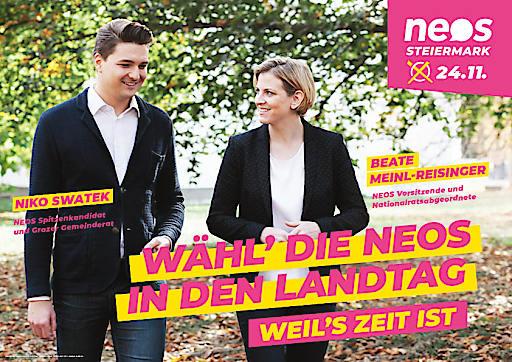 """NEOS Plakat """"Wähl' die NEOS in den Landtag - Weil's Zeit ist"""""""