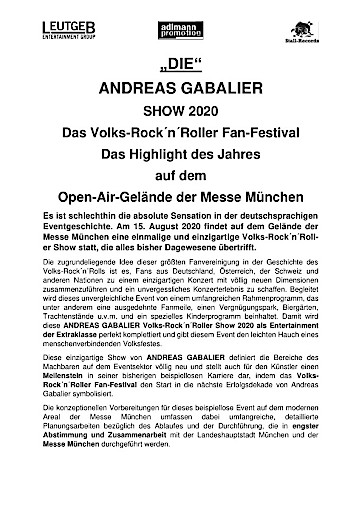 """""""DIE"""" ANDREAS GABALIER SHOW 2020 - Das Volks-Rock´n´Roller Fan-Festival"""