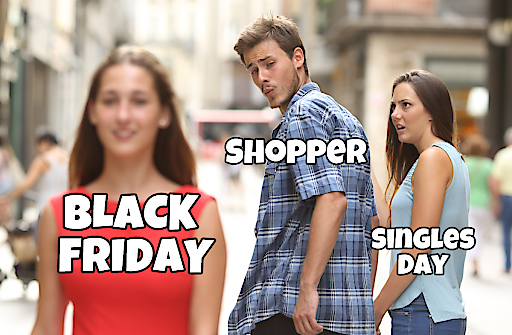 """Singles Day vs. Black Friday (Antonio Guillem/Shutterstock.com). Weiterer Text über ots und www.presseportal.de/nr/111552 / Die Verwendung dieses Bildes ist für redaktionelle Zwecke honorarfrei. Veröffentlichung bitte unter Quellenangabe: """"obs/Black-Friday.de"""""""