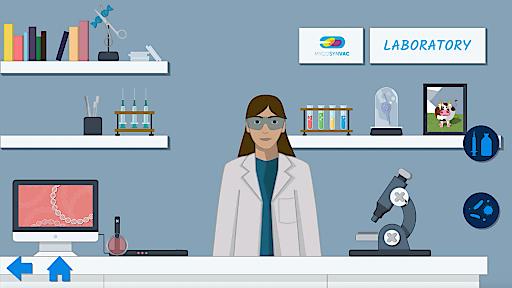 Spiel-Screenshot: im Labor, wo Bakterien analysiert und Impfungen hergestellt werden