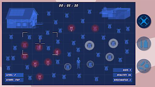 Spiel-Screenshot: die Dronen-Perspektive auf dem Bauernhof