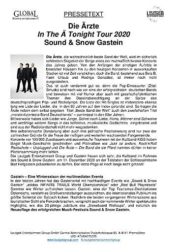 DIE ÄRZTE am 11.12.2020 beim SOUND & SNOW GASTEIN