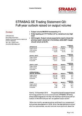 EANS-News: Strabag SE Trading Statement Q3: Full-year outlook raised on output volume