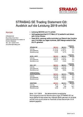 EANS-News: Strabag SE Trading Statement Q3: Ausblick auf die Leistung 2019 erhöht