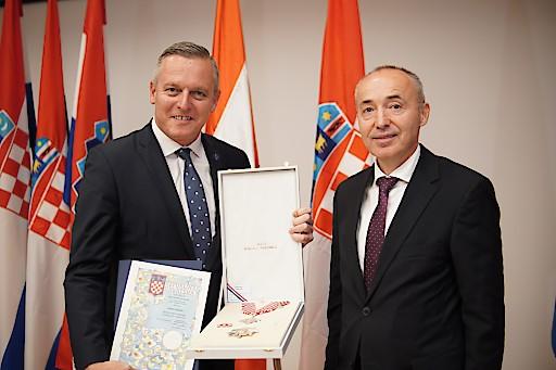 Der ehemalige österreichische Verteidigungsminister Mario Kunasek und der kroatische Verteidigungsminister Damir Krstičević