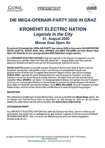 DAVID GUETTA & viele weitere DJ Superstars beim KRONEHIT ELECTRIC NATION GRAZ