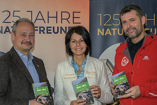 Gerlinde Kaltenbrunner, Andreas Schieder und Günter Abraham beim Pressegespräch zu 125 Jahre Naturfreunde Österreich.