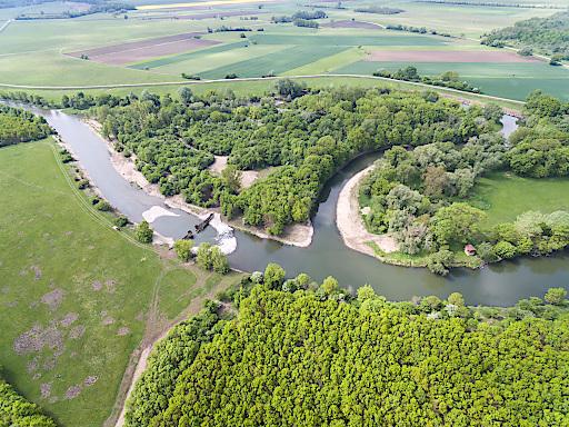 Luftaufnahme, Wiederanbindung Mäander 18 auf österreichischer Seite (Gemeinde Bernhardsthal)