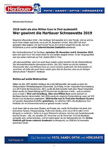 2018 mehr als eine Million Euro in Tirol ausbezahlt