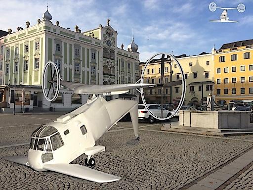DUAFLY Flugtaxi vor Stadtplatz in Betrieb Vision