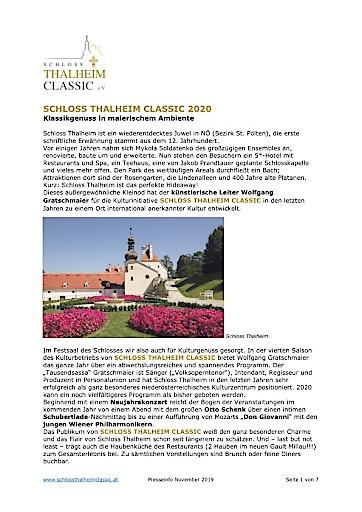 SCHLOSS THALHEIM CLASSIC präsentiert das Programm 2020