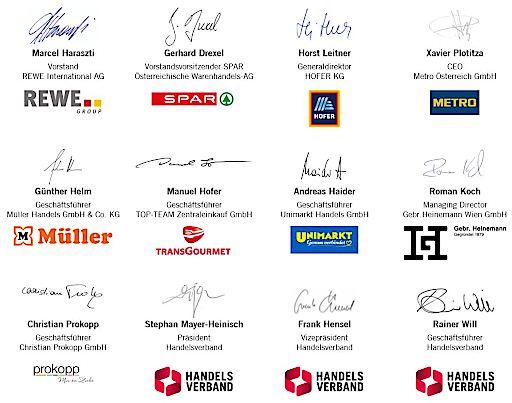 Unterschriften der Vertreter der Plattform Österreichischer Lebensmittelhandel