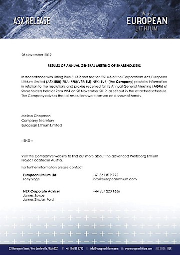 EANS-General Meeting: European Lithium Limited / Resolutions of the General Meeting