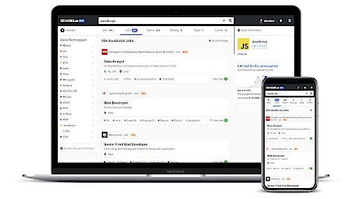 Suchseite devjobs.at, Laptop und Smartphone